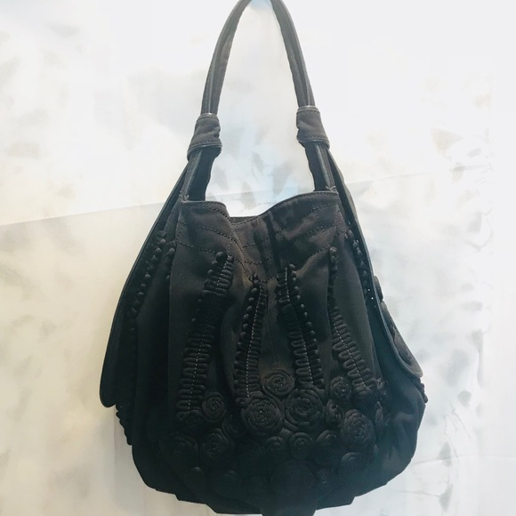 Lockheart Handbags - Lockheart Black Canvas Leather Hobo Shoulder Bag 26b03abad4a26